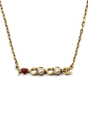"Chanel Goldtone ""I Love Coco"" Faux Pearl and Enamel Necklace"