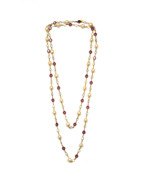 "Chanel Purple & Clear Crystals with Pearls 62"" Vintage Necklace"