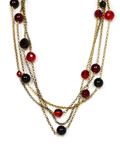 "Chanel Vintage Red Gripoix & Crystal Goldtone 92"" Necklace"