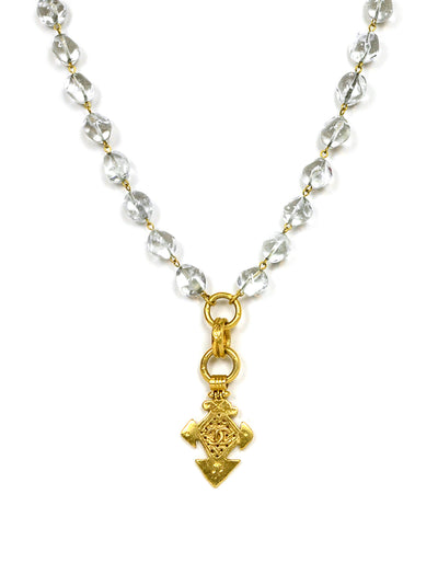Chanel Vintage Clear Bead Necklace w/ Goldtone CC Pendant
