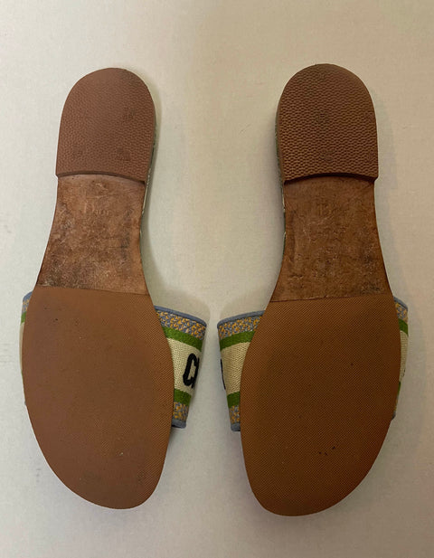 Christian Dior 2020 Canvas Embroidered Dway Slides sz39.5