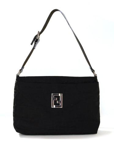 Fendi Black Monogram Canvas Shoulder Bag with Logo