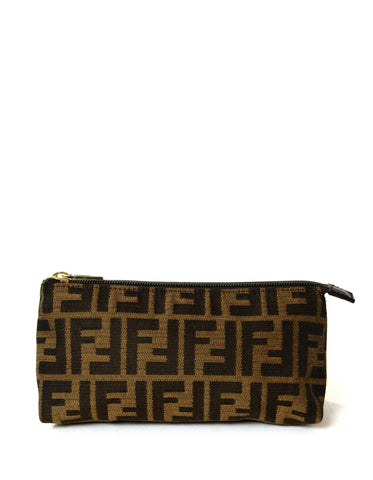 Fendi Tobacco Zucca Canvas Zip Top Pouch/Cosmetic Case
