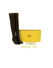 Fendi Brown Black Monogram Zucca Logo Print Sock Boots sz 37.5