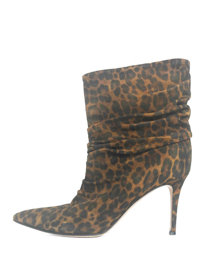 Gianvito Rossi Leopard-Print Suede Cecile 85 Ankle Boots sz 40