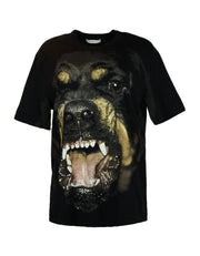 Givenchy Black Cotton Oversized Rottweiler Printed T-Shirt sz Small