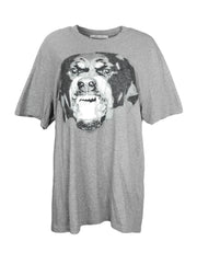 Givenchy Men's Grey Cuban Fit Rottweiler Printed T-Shirt sz XL