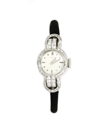 Gubelin Small Platinum and Diamond Wrist Watch on Black Cord