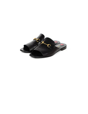 Gucci Black Leather Horsebit Peep-Toe Slides sz 39.5