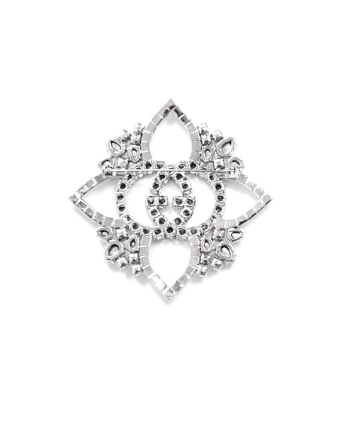 Gucci Crystal Embellished GG Brooch