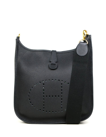 Hermes Black/Gold Taurillon Clemence Leather Evelyne III 29cm PM Bag