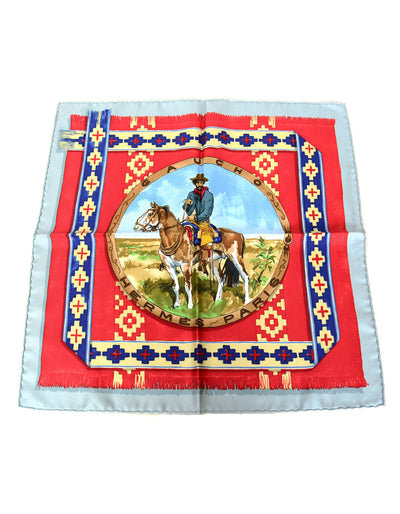 Hermes Blue & Red Gaucho 45cm Silk Pocket Square Scarf