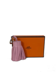 Hermes Light Pink Leather Carmen Tassel Keychain