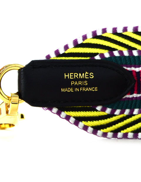 Hermes '18 Multicolor Toile Canvas Noir Leather Sangle Cavale 50mm Bag Strap