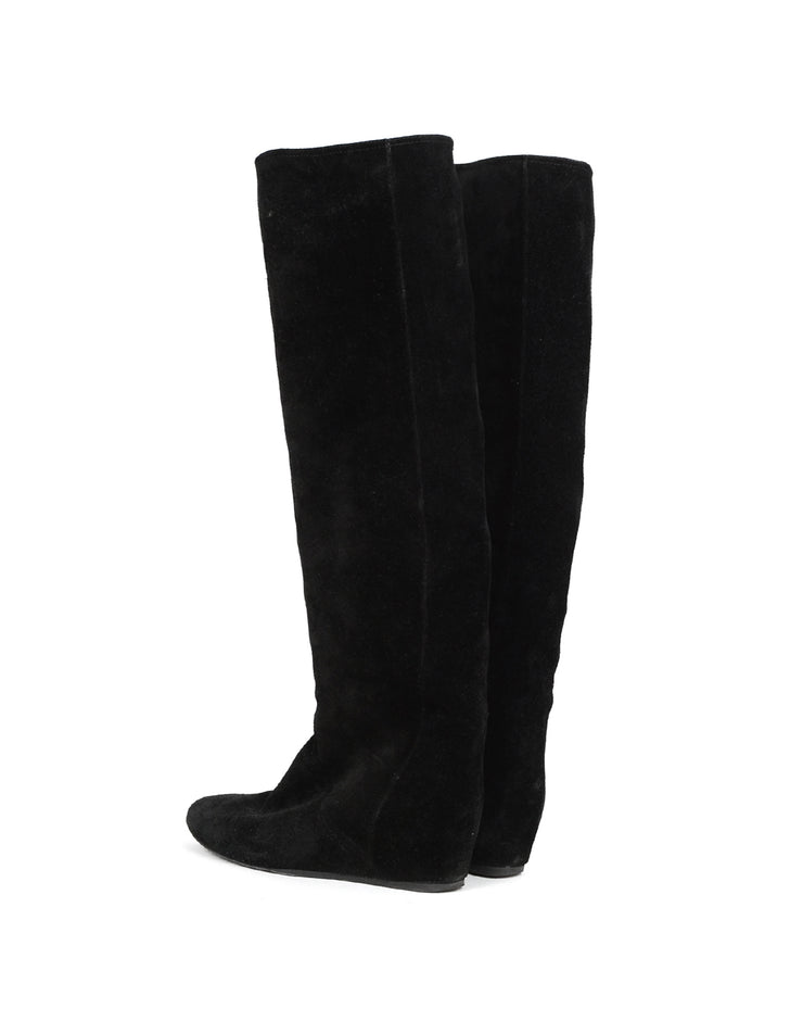 Lanvin Black Suede Wedge Boots sz 36