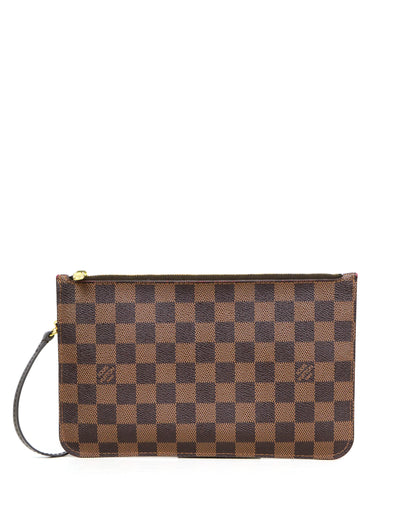 Louis Vuitton Damier Ebene Neverfull Pochette Wristlet Bag