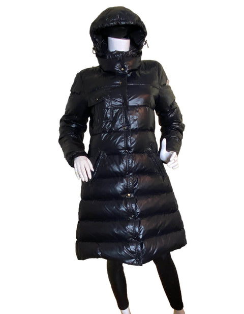 Moncler Black Meina Puffer Down Coat w/Belt & Detachable Hood sz 2/US M