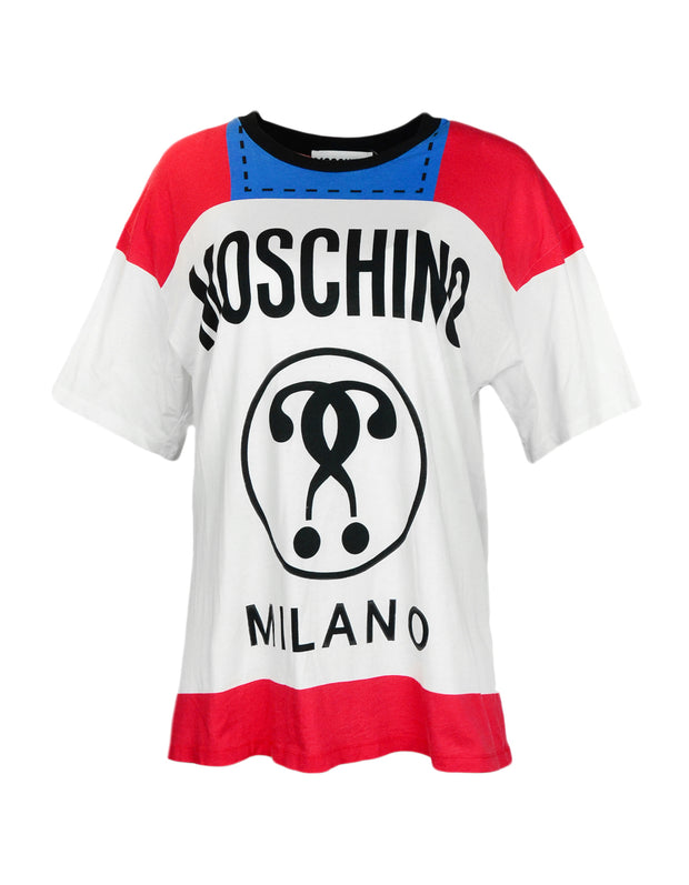 Moschino White/Red/Blue Question Mark Logo T-Shirt sz S