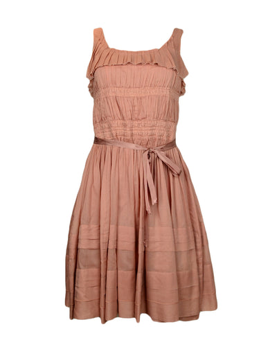 Nina Ricci Peach Sleeveless Dress with Pleating sz IT 38