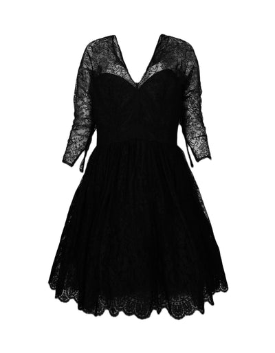 Oscar de la Renta Black Lace Long Sleeve V-Neck Bustier Flare Dress sz 12