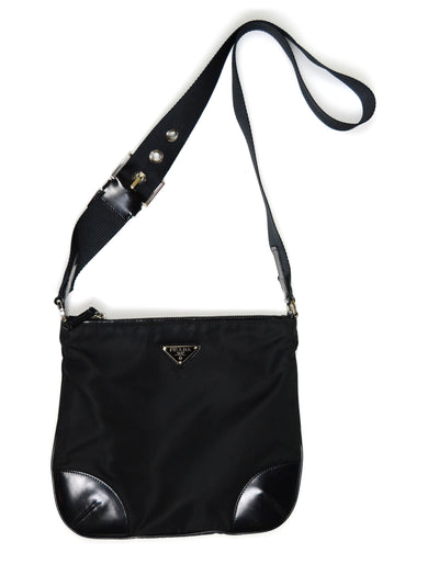 Prada Black Flat Tessuto Nylon Crossbody Bag w/ Leather Trim