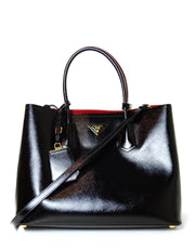 Prada Black/Red Saffiano Vernice Leather Double Handle Tote Bag