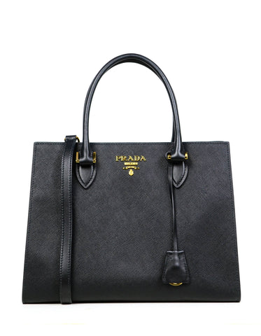Prada Black Saffiano Leather Lux Convertible Tote Bag w/ Strap 1BA118