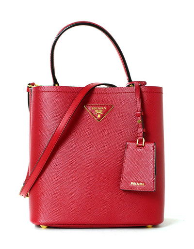 Prada 1BA212 Fuoco Red/Nero Black Medium Saffiano Leather Panier Bag