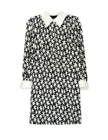 Saint Laurent Black/Off-white Star Print Schoolgirl Collar Dress sz 8