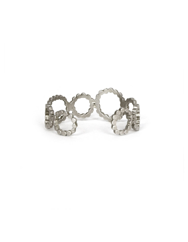 Saundra Messinger Sterling Silver Open Circles Cuff w/ Diamonds