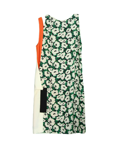 Stella McCartney Floral Shift Dress w/ Cream & Orange Cutout Panel sz S
