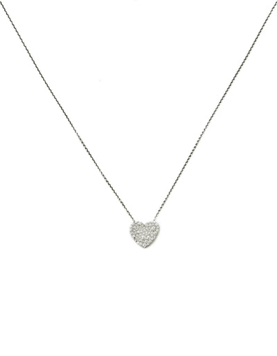 Tiffany & Co 18k White Gold Diamond Pave Heart Necklace