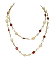 "Chanel Vintage '81 Red Crystal & Pearl 36"" Sautoir Necklace"