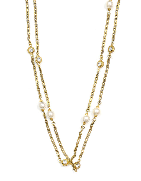 "Chanel Vintage '84 Goldtone Pearl/Rhinestone 66"" Necklace"