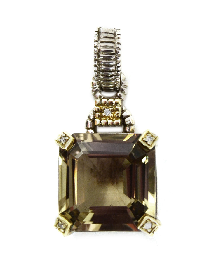 Judith Ripka Sterling/Gold Emerald Cut Smoky Quartz Pendant