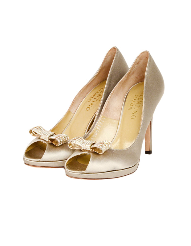 Valentino Sand Satin Peep Toe Crystal Bow Pumps Sz 36.5