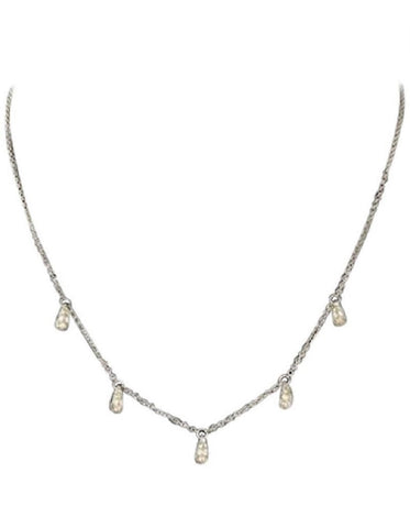 Tiffany & Co. Elsa Peretti Diamond & Platinum Teardrop Necklace