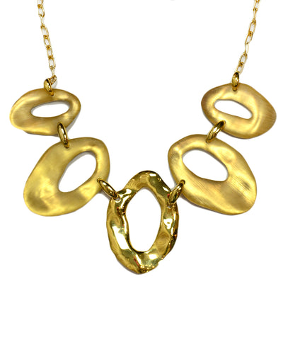 Alexis Bittar Lucite/Hammered Circle Pendant Necklace