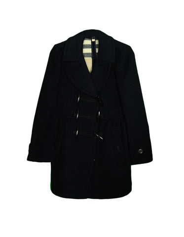 Burberry Black Wool Coat w/ Toggle sz 4
