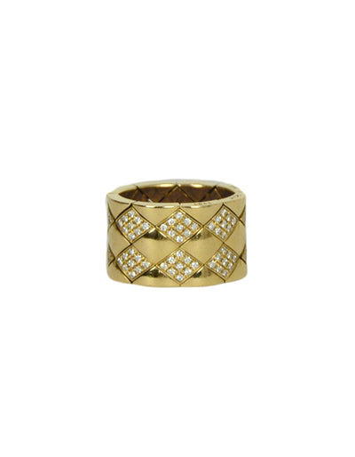 Chanel 18k Yellow Gold & Diamond Coco Crush Matelasse Thick Band Ring sz 5.5
