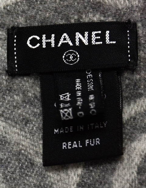 "Chanel 78.5"" Orylag Rabbit Fur & Cashmere Stole/Throw"