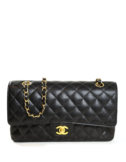 "Chanel Black Caviar Leather 10"" Medium Double Flap Classic Bag"