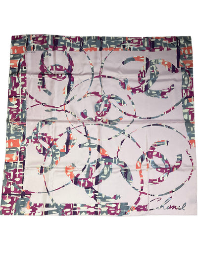 Chanel Lavender Abstract CC Logo Printed 90cm Silk Scarf