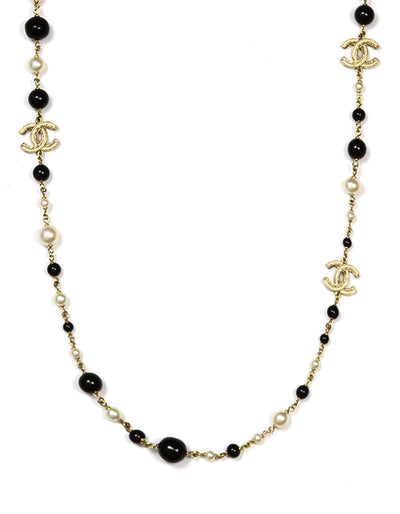 Chanel Black Bead and Faux Pearl Necklace with Enamel CC