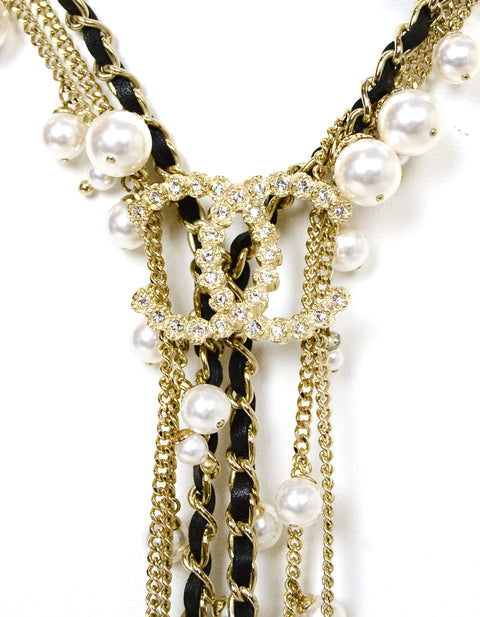 Chanel 2018 Goldtone Multistrand Faul Pearl CC Y Necklace
