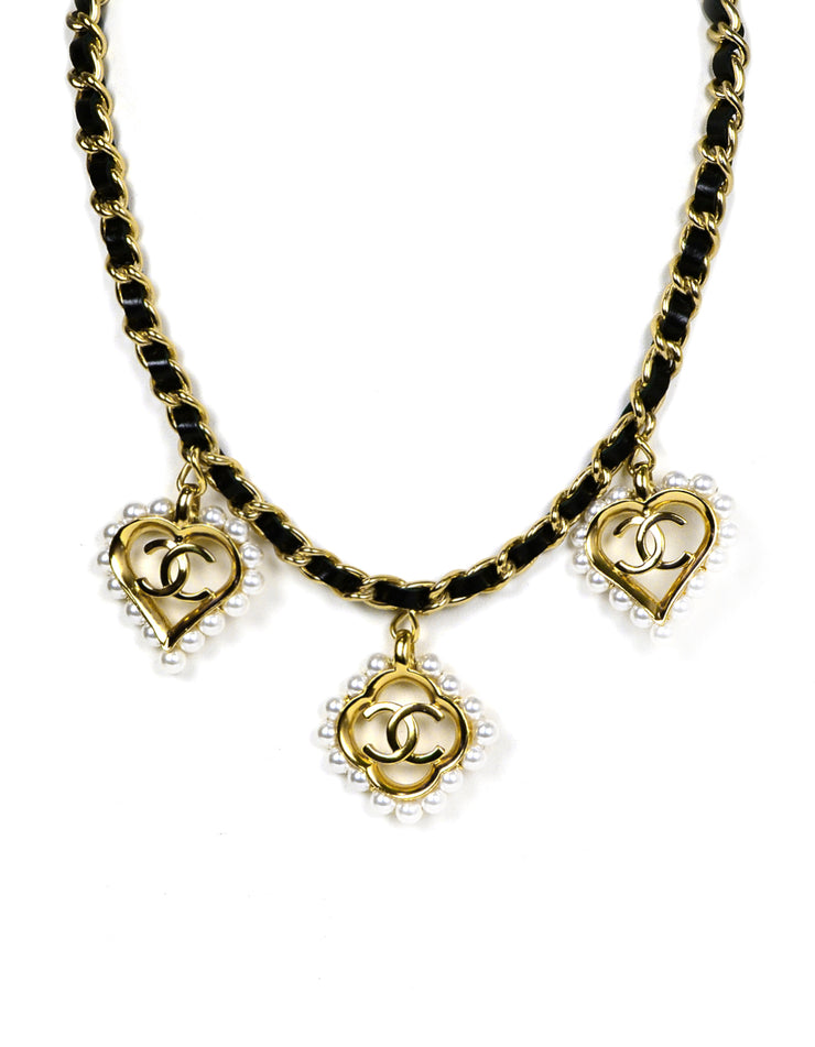 Chanel 2019 Leather Laced Chain Necklace w/ Pearl CC Heart & Flower Charms
