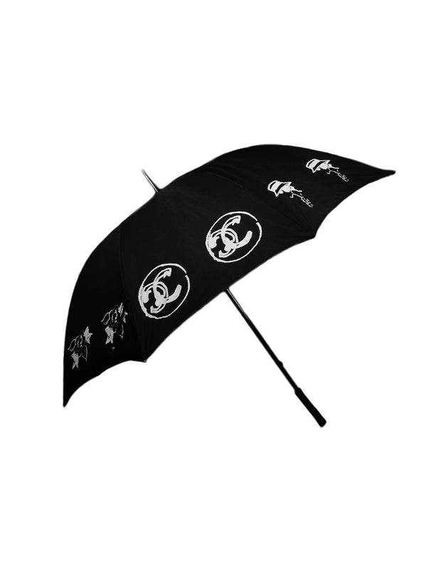 Chanel Black CC Print Umbrella