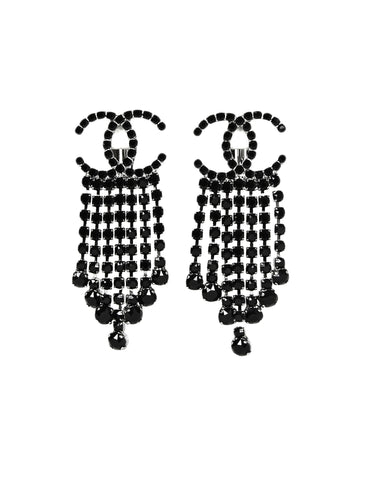 Chanel Black Crystal  CC Drop Earrings