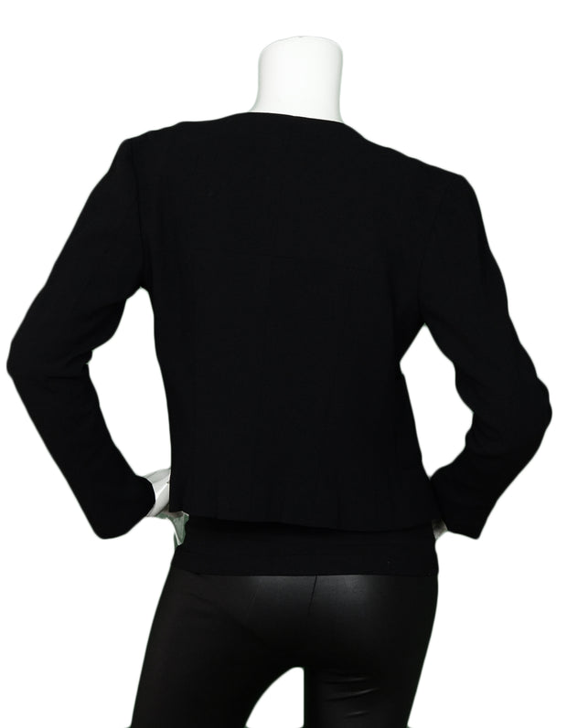 Chanel Black Single Breasted Jacket w/ Six CC Buttons sz 34
