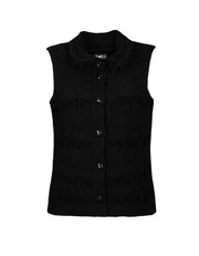 Chanel Black Wool Boucle Vest w/ Fringe sz 38